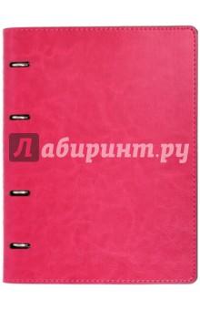 Тетрадь (80 листов, на кольцах, клетка, Малиновая + Серая) (37929-10) Феникс+