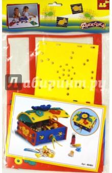 Шнуровка Сундучок. Флексика (45461)Шнуровки из пластика и пластмассы<br>Игрушка направлена на развитие у ребёнка памяти, воображения, фантазии, моторики, пространственного и логического мышления.<br>Обучение происходит в процессе игры.<br>Благодаря особой структуре материала и свойству прилипать к мокрой поверхности, является идеальной игрушкой для ванны. <br>Материал: пенополиэтилен.<br>Упаковка: блистер.<br>Для детей от 3 лет.<br>Сделано в России.<br>