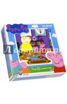 Пазл-25 Peppa Pig (01583)Пазлы (15-50 элементов)<br>Пазл.<br>25 элементов.<br>Размер: 212х212 мм.<br>Изготовлено из картона и бумаги.<br>Не рекомендовано детям младше 3-х лет. Содержит мелкие детали.<br>Сделано в России.<br>