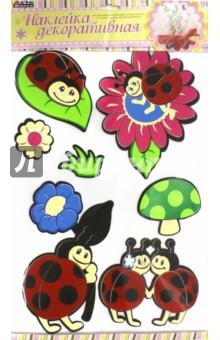 Декоративная наклейка Божьи коровки (LL018)Наклейки детские<br>Декоративная наклейка для украшения интерьеров детских комнат, гостиных, спален, предметов мебели.<br>Материал: картон, пластик.<br>Упаковка: блистер.<br>Сделано в Китае.<br>