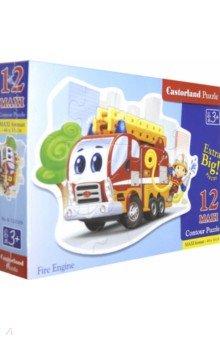 Puzzle-12 MAXI Пожарная машина (В-120109)Пазлы (15-50 элементов)<br>Пазл-мозаика MAXI.<br>12 элементов.<br>Размер собранной картинки 44 х 33 см.<br>Материал: картон.<br>Упаковка: картонная коробка.<br>Для детей от 3 лет.<br>Сделано в Польше.<br>