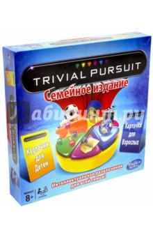 Семейная настольная игра Тривиал Персьюит (73013)Другие настольные игры<br>Семейная игра Тривиал Персьют - настольная, интеллектуальная игра-викторина для всей семьи. Правильно отвечайте на вопросы и получайте разноцветные дольки за верный ответ. Тот игрок, кто первый соберет необходимые дольки, и станет победителем игры. Вы сможете играть в настольную интеллектуальную игру Trivial Pursuit друг против друга или в большой компании. Игра включает в себя 2 400 вопросов. 1200 вопросов детям и 1200 вопросов взрослым, поэтому вам не придется скучать вечерами. В комплект входит: - 400 карточек с вопросами, - 200 голубых карточек для взрослых - 200 желтых карточек для детей - игровая доска - 2 держателя для карточек - 6 фишек - 36 долек - игральный кубик - правила игры. Повышайте уровень своей эрудиции и просто проводите время в кругу семьи весело вместе с настольной игрой Тривиал Персьют.<br>В комплекте:<br>игровая доска,<br>400 карточек с вопросами: 200 голубых карточек для взрослых и 200 желтых карточек для детей,<br>2 держателя для карточек,<br>6 фишек,<br>36 долек,<br>игральный кубик,<br>правила игры.<br>Рекомендуемый возраст игроков: от 8-ми лет.<br>Количество участников: 2 - 6.<br>Сделано в Ирландии.<br>