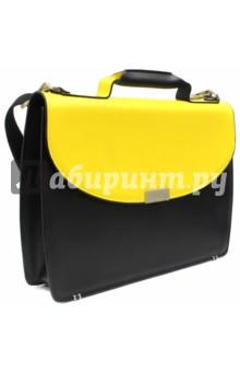Портфель черный с клапаном желтого цвета (350690) (SM003 Y/B)
