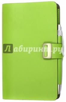 Органайзер на кнопке зеленый (350703) (GA01-M)Органайзеры<br>Органайзер на кнопке с хлястиком.<br>Средний.<br>С ручкой.<br>Отделение для визиток. <br>Количество страниц: 200. <br>Цвет: зеленый.<br>Материал: натуральная кожа.<br>Сделано в Китае.<br>