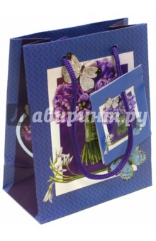 "Пакет бумажный ""Сиреневый букет"" (11х13,7х6,2 см) (39640) Феникс-Презент"
