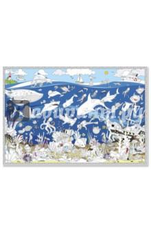 Подводный мир. Карта-раскраскаРаскраски<br>Большая раскраска помогает не только развлечься, но и узнать много нового о многообразном мире живой природы в глубинах морей и океанов. Настенная, напольная или настольная раскраска - используйте как вам больше нравится! Рисуем с родителями, братьями, сестрами - всей семьёй! Можно рисовать гуашью, акварелью, пальчиковыми красками, фломастерами и карандашами.<br>Размер: 101х69 см.<br>Материал: картон.<br>Для детей старше 3-х лет.<br>Сделано в России.<br>