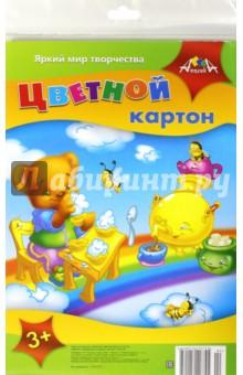 Цветной картон. Медвежонок на радуге. 5 листов, 5 цветов (С2463-04) АппликА
