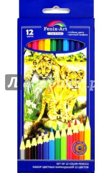 Цветные карандаши Львята (12 штук, деревянные, шестигранные) (39633-24)Цветные карандаши 12 цветов (9—14)<br>Набор цветных карандашей.<br>В наборе 12 цветов.<br>Яркие цвета, мягкое письмо, прочный грифель, удобная шестигранная форма, корпус из натуральной древесины, легко затачиваются. <br>Для детей от 3-х лет.<br>Сделано в Китае.<br>