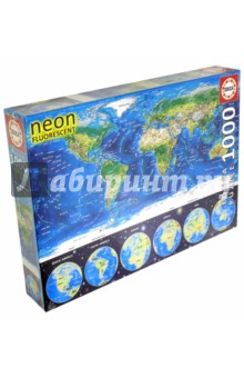 Пазл-1000 Неоновая карта мира (16760)Пазлы (1000 элементов)<br>Пазл-мозаика.<br>1000 элементов.<br>Размер собранной картинки 48 х 68 см.<br>Материал: картон.<br>Упаковка: картонная коробка.<br>Сделано в Испании.<br>