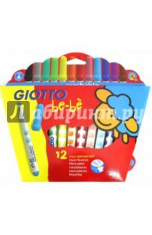 Фломастеры Giotto be-be. 12 цветов в блистере (466700)Фломастеры 12 цветов (9—14)<br>Утолщенные фломастеры Giotto be-be - идеальный выбор для самых маленьких. Они просты в использовании и легко смываются с рук и тканей.<br>Безопасность доказана дерматологическими испытаниями. <br>С заглушкой и сверхпрочным закрепленным наконечником. <br>Диаметр пишущего узла - 5 мм.<br>12 ярких цветов.<br>Упаковка: картонная коробка с подвесом.<br>Произведено в Италии.<br>