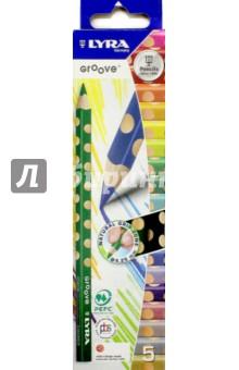 Карандаши цветные, 5 цветов GROOVE SLIM утолщенные (L3811050)