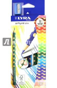 Карандаши цветные, 12 цветов GROOVE SLIM с точилкой (L2821120)Цветные карандаши 12 цветов (9—14)<br>Цветные карандаши.<br>Количество штук в упаковке: 12.<br>Количество цветов: 12.<br>Точилка в комплекте.<br>Упаковка: картонная коробка с блистером.<br>Производство: Германия.<br>