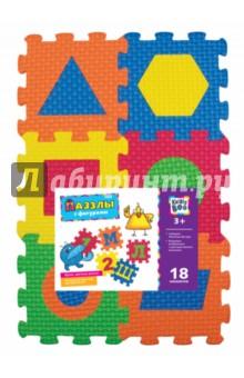 Пазлы с фигурами (18 элементов) (62687)Пазлы (15-50 элементов)<br>Развиваем воображение и пространственное мышление.<br>Формируем цветовую чувствительность.<br>Изучаем осн6овы математики.<br>Комплектность: 3 листа, 18 элементов.<br>Не рекомендовано детям младше 3-х лет. Содержит мелкие детали.<br>Сделано в Гонконге.<br>