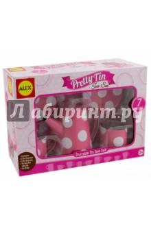 Чайный сервиз с подносом (705PD)Наборы игрушечной посуды<br>Очаровательный чайный сервиз розового цвета в белый горох. Состоит из двух чашек с блюдцами, чайника с крышкой и подноса. <br>Все предметы изготовлены из прочного эмалированного металла.<br>Для детей от трех лет. <br>Изготовлено в Китае. <br>Упаковка: картонная коробка.<br>