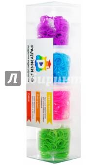 Комплект резинок для плетения №1 (1200 штук, фиолетовые, голубые, розовые, зеленые)