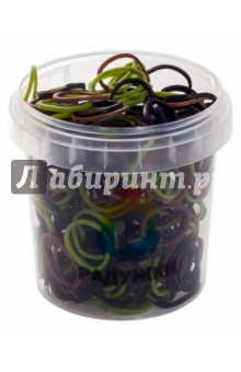 Резинки для плетения в стаканчике (300 штук, хаки)Плетение из резиночек<br>Плетение из резиночек совершенно новое увлечение захватившее весь мир, похожее на вязание крючком. <br>Своими руками вы сможете сплести множество украшений, браслетов, поделок и других красивых штучек.<br>В наборе 300 резиночек расцветки хаки (зеленые, коричневый, черные), s-образные клипсы, крючок.<br>Придумано специально для девочек 6-12 лет и их мам. <br>Для детей старше 5-ти лет. Содержит мелкие детали.<br>Сделано в России.<br>