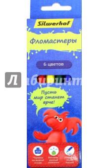 """Фломастеры 6 цветов """"Джинсовая коллекция"""" (867202-06) Silwerhof"""