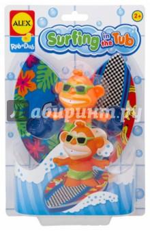 Игрушка для ванны Серфинг (884ST)Игрушки для ванной<br>Веселая игра для ванной - обезьянка-серфингист. Выберите доску для нее - поставьте ее на доску и запускайте по волнам!<br>В наборе: обезьянка и 2 доски для серфинга.<br>Для детей от 2-х лет. <br>Изготовлено: Китай.<br>