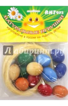 Счетный материал Яйца в гнезде цветные (Д-683)Другие игрушки для малышей<br>Счетный материал.<br>Цель: освоение навыков счета, знакомство с устным счетом, количественным представлением.<br>Комплектность: 12 яиц.<br>Материал: дерево.<br>Упаковка: пакет с подвесом.<br>Сделано в России.<br>