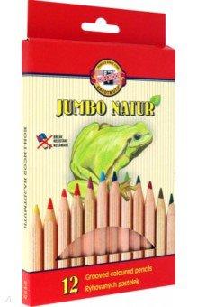 Карандаши  Jumbo Natur (12 цветов) (2172/12N)Цветные карандаши 12 цветов (9—14)<br>Цветные карандаши с рельефной поверхностью.<br>Количество цветов: 12.<br>Количество карандашей: 12.<br>Сделано в Чехии.<br>