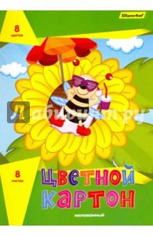 """Цветной картон мелованный """"Подсолнух"""". 8 листов, 8 цветов. А4 (918106-14) Silwerhof"""