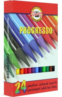 Карандаши укороченные Progresso (24 цвета) (8758)Цветные карандаши более 20 цветов<br>Карандаши цветные укороченные.<br>Количество цветов: 24.<br>Без дерева.<br>Сделано в Чехии.<br>