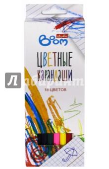 Карандаши цветные шестигранные Studio, 18 шт. (BS-BCL18)Цветные карандаши 18 цветов (15—20)<br>Карандаши цветные шестигранные Studio, 18 шт.<br>Упаковка: картонная коробка с подвесом. <br>Яркие цвета, отличные красящие свойства, высококачественный ударопрочный грифель, легкое затачивание. <br>Устойчивы к выцветанию.<br>