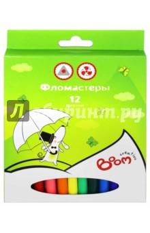 Фломастеры, 12 цветов. Трехгранная зона захвата (0102-1112)Фломастеры 12 цветов (9—14)<br>Фломастеры, 12 цветов. <br>Трехгранная зона захвата, яркие цвета. <br>Тонкая линия. <br>На водной основе. <br>Вентилируемый колпачок. <br>Упаковка: картонная коробка с подвесом.<br>
