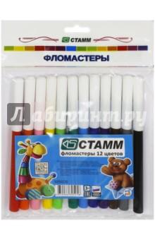 Фломастеры Веселые игрушки (12 цветов) (ФВ404)Фломастеры 12 цветов (9—14)<br>Набор из 12 разноцветных фломастеров с белыми колпачками. Колпачок одевается с щелчком и надежно фиксируется на корпусе. Предназначены для раскрашивания, рисования и письма на бумаге.<br>Материал: пластик. <br>Смываемые.<br>Для детей от 3-х лет.<br>Сделано в России.<br>