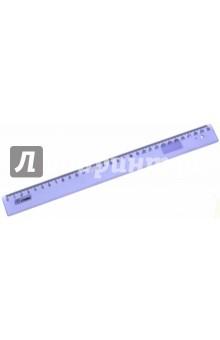 Линейка 30 см пластмассовая прозрачная, цветное тонирование (ЛН34)