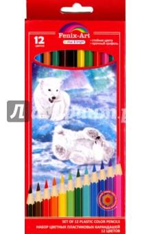 """Набор цветных пластиковых карандашей """"Медвежата"""" (12 цветов) (40037) Феникс+"""