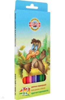 Карандаши Птицы (12 цветов) (3552/12)Цветные карандаши 12 цветов (9—14)<br>Карандаши цветные.<br>Количество цветов: 12.<br>Предназначены для рисования.<br>Сделано в Чешской Республике<br>