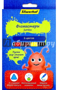 """Фломастеры """"Jumbo. Джинсовая коллекция"""" (6 цветов) (867206-06) Silwerhof"""