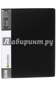 Папка с боковым металлическим прижимом и внутренним карманом, черная (221786) Brauberg