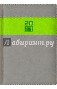 """Ежедневник датированный на 2017 год """"Наппа"""" (А5, серый/наппа салатовый) (41647) Феникс+"""