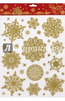 Украшение новогоднее оконное (38634)Аксессуары для праздников<br>Новогоднее оконное украшение.<br>Декорировано глиттером.<br>Размер: 30х38 см.<br>Предназначено: декор.<br>Материал: ПВХ пленка.<br>Сделано в Тайване.<br>