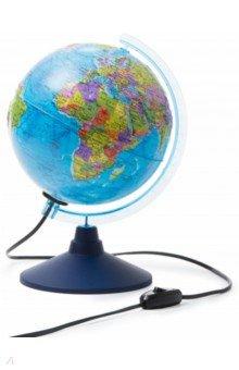 Глобус Земли политический рельефный (d=210 мм, с подсветкой) (Ке022100202)Глобусы<br>Политический глобус Земли, рельефный d-210 мм.<br>С подсветкой, работает от сети. <br>Упаковка: фирменный пакет и картонная коробка.<br>Имеется переключатель подсветки на шнуре.<br>Сделано в России.<br>