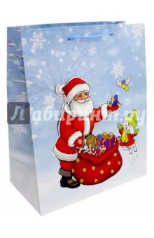Пакет новогодний ламинированный (26х32 см) (L-3D 043-047)Подарочные пакеты<br>Пакет ламинированный. <br>Размер: 264х327х136 мм.<br>Сделано в Китае.<br>