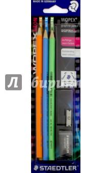 Набор чернографитных карандашей Wopex Neon- 3 шт (HB2). С точилкой и ластиком (180FSBK3-2) STAEDTLER