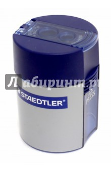 Точилка Staedtler с контейнером для стружки - 2 отверстия (512001)Точилки<br>Точилка с контейнером для стружки - 2 отверстия.<br>Цветной пластиковый корпус - синий.<br>Сделано в Китае.<br>