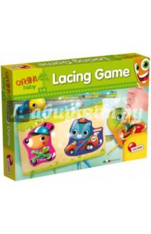 Игра настольная ШНУРОВКА (53353)Шнуровки из картона<br>Игра-шнуровка Веселые гонки забавных животных совершенствует мелкую моторику рук ребенка и помогает легче овладеть рисованием и письмом. Продевая разноцветные шнурки в карточки с изображениями животных, ребенок каждый раз создает новую картинку - игра становится многообразной и увлекательной. Ребенок может играть как самостоятельно, так и повторять способ шнуровки за взрослым на своем участке дороги.<br>Также элементы игры позволяют познакомиться с животными и изучить разнообразные средств передвижения. <br>Игра способствует развитию мелкой моторики, воображения, расширению кругозора.<br>Состав набора:<br>? 6 карточек с изображением животных<br>? 2 участка гоночной трассы<br>? 8 разноцветных шнурков<br>Упаковка: картонная коробка.<br>Для детей от 1 до 4 лет.<br>Продукт разработан в Италии, в Центре Исследований и Разработки Lisciani.<br>