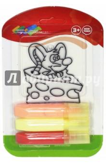 Витраж Мышка в сыре + витражные краски, 3 шт. (OE-6WP3/1S-10)