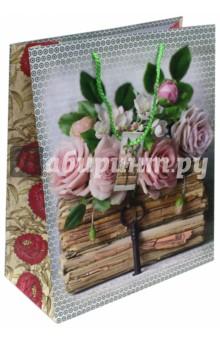 """Пакет бумажный """"Книги и розы"""" (26х32,4х12,7) (44197) Феникс-Презент"""