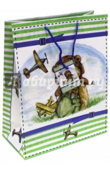 "Пакет бумажный ""Мишка-летчик"" (26х32,4х12,7) (44192) Феникс-Презент"