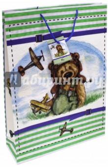 "Пакет бумажный ""Мишка-летчик"" (33х45,7х10,2) (44210) Феникс-Презент"