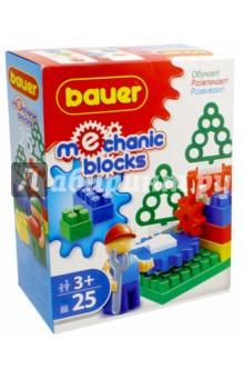 Конструктор Mechanic blocks, 25 элементов (362)Конструкторы из пластмассы и мягкого пластика<br>Конструктор Mechanic Blocks известного производителя Bauer - чудесный подарок для маленького механика. В наборе разноцветные пластиковые детали разной формы и размера, и фигурка рабочего с подвижными руками, и в красной каске. Собранный конструктор может быть приведен в движение, если правильно соединить шестеренки. Конструктор развивает пространственное и логическое мышление, и дает простор для фантазии малыша.<br>В наборе: 25 деталей.<br>Игрушка для детей от 3-х лет.<br>Материал: пластик.<br>Упаковка: картонная коробка.<br>Сделано в России.<br>