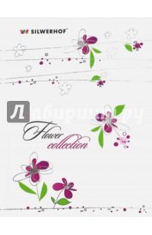 Записная книжка алфавитная Floral, 64 листа, А6, линия (752011-56)Записные книжки средние (формат А6)<br>Записная книжка Floral, в твердом переплете с серебряным тиснением. <br>64 листа в линейку. Алфавитная вырубка. <br>Формат: А6.<br>