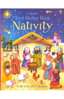 First Sticker Book. NativityЛитература на иностранном языке для детей<br>A charming activity book filled with delightful illustrations of well-known nativity scenes to sticker including  No Room at Inn ,  A Boy is Born  and  Three Wise Men . Sticker Mary and Joseph in the inn and baby Jesus in a manger to complete the iconic nativity scenes. Perfect for children reading the story of the nativity and Christmas at school. With over 250 stickers this will encourage concentration and entertain children for hours.<br>