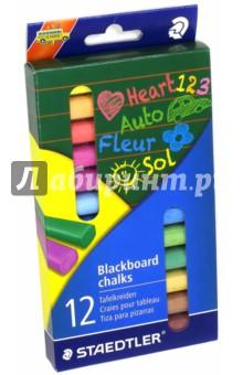 Мелки для доски цветные (12 штук) (2360)Мелки школьные<br>Мелки для доски.<br>Цветные. <br>Количество: 12.<br>Сделано в Германии.<br>