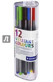 Набор капиллярных ручек Triplus 334, 12 цветов (334PR12)Наборы капиллярных ручек<br>Капиллярные ручки.<br>Количество цветов: 12.<br>Линия письма: 0,3 мм.<br>Трехгранная форма. <br>Яркие цвета.<br>Упаковка: пластиковый бокс.<br>Сделано в Германии.<br>